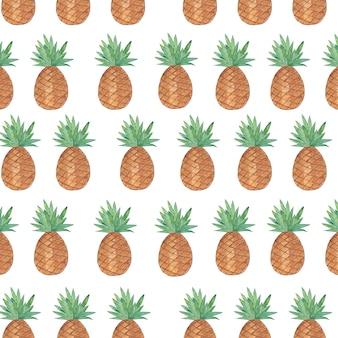 白い背景で隔離のパイナップルとのシームレスなパターン