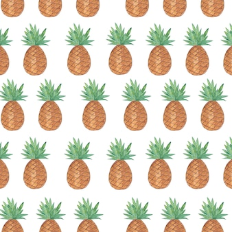 Seamless pattern with pineapple isolated on white background.