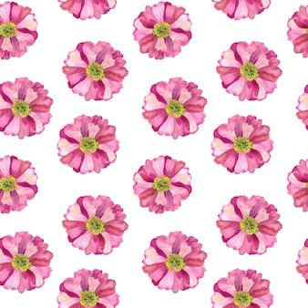 白い壁にピンクの花とのシームレスなパターン。手描きの水彩イラスト。