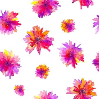 ピンクのガーベラの花とのシームレスなパターン。水彩