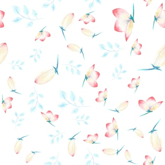 Seamless pattern with pink hellebore flowers, buds, leaves, decorative twigs on white isolated . watercolor illustration, handmade.