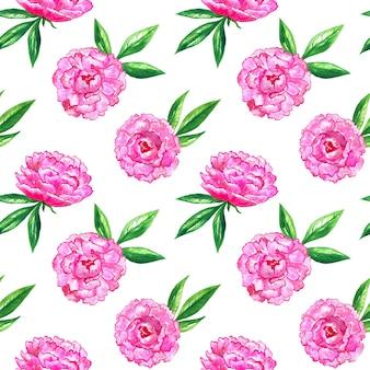 ピンクの牡丹と葉とのシームレスなパターン。手描きの水彩イラスト。印刷、ファブリック、テキスタイル、壁紙のテクスチャ。