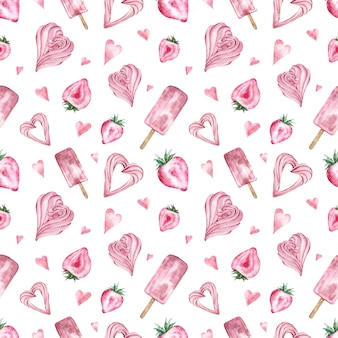 Seamless pattern with pink sweets, ice cream, heart-shaped strawberry, marshmallow.