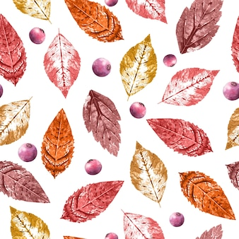 Seamless pattern with red and orange leaves and berries.
