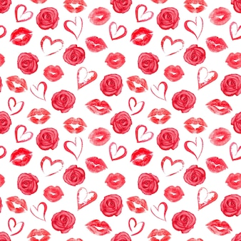 Seamless pattern with red roses, hearts and traces of lipstick on white surface