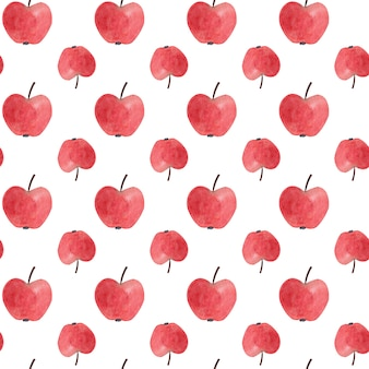 Seamless pattern with red watercolor apples.