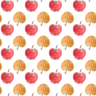 Seamless pattern with red and yellow watercolor apples.