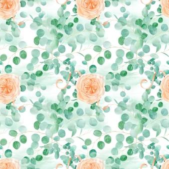 バラとユーカリのシームレスなパターン