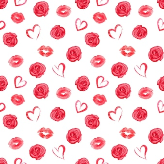 Seamless pattern with roses, hearts and red traces of lipstick on white surface