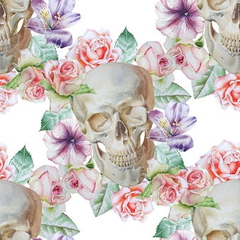 Seamless pattern with skull and flowers