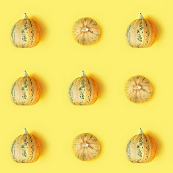 Seamless pattern with small round pumpkin, autumnal holiday