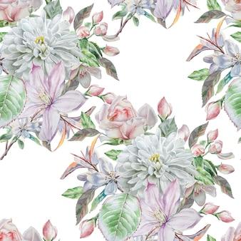 春の花とのシームレスなパターン。