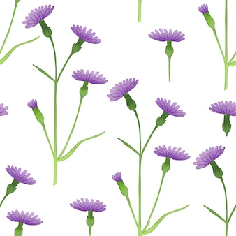 白い背景の上の春紫のヤグルマギクとのシームレスなパターン