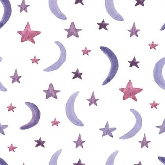 星と月とのシームレスなパターン。水彩絵の具。