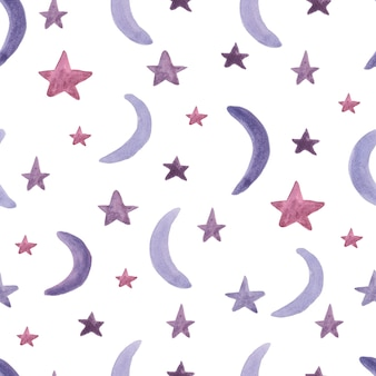 Seamless pattern with stars and moons. watercolor paint.