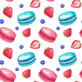 딸기와 마카롱 완벽 한 패턴입니다. 손으로 그린 수채화 그림. 흰 벽에 고립.
