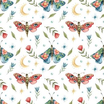Бесшовный узор с изображением цветов, красных и синих бабочек-девушек, луны и звезд