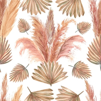 Seamless pattern with tropical leaves and pampas grass watercolor illustration