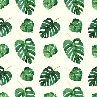 A seamless pattern with tropical leaves