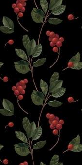 小枝やベリーとのシームレスなパターン。植物の手描きの背景。包装紙、壁紙、ノートカバー、布地のデザインに適しています。