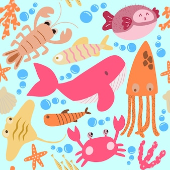 Seamless pattern with underwater animals: octopus, whale,  crab, lobster, seahorse, squid, . repeated texture with cartoon characters.