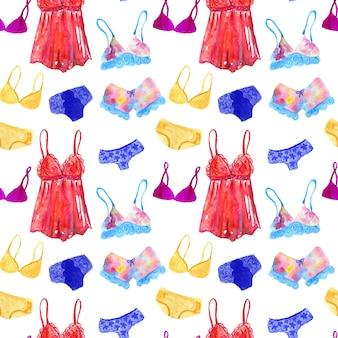 Бесшовный фон с нижним бельем и нижним бельем для женщины. ручной обращается акварель иллюстрации. текстура для печати, ткани, текстиля, обоев.