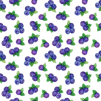 Seamless pattern with watercolor blueberries