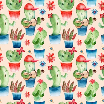 Seamless pattern with watercolor cacti characters