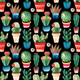 Seamless pattern with watercolor cacti