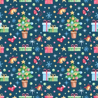 Seamless pattern with watercolor christmas elementsgifts in vintage style on a blue background.
