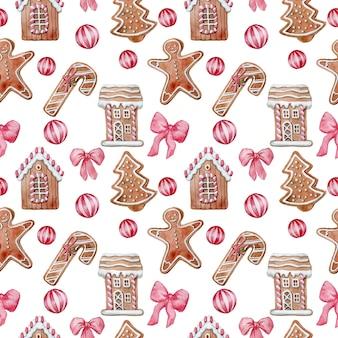 水彩のクリスマスジンジャークッキーとのシームレスなパターン