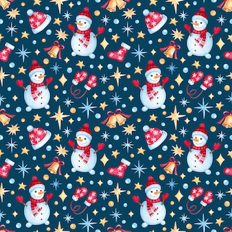 Seamless pattern with watercolor christmas illustrations. cute christmas pattern.
