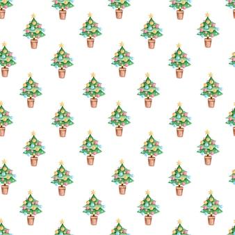 Бесшовный фон с акварельной елкой для оберточной бумаги, открыток, тканей, текстиля.