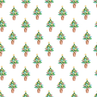 Seamless pattern with watercolor christmas tree for wrapping paper, cards, fabrics, textiles.