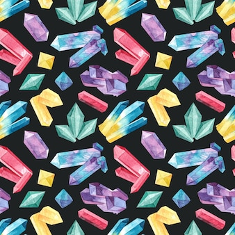 Seamless pattern with watercolor crystals