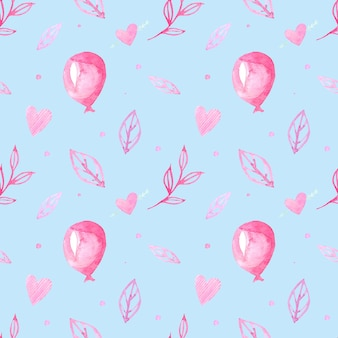 Seamless pattern with watercolor drawings. hand-drawn balls, hearts and branches, leaves