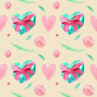 Seamless pattern with watercolor drawings. hand-drawn gifts and branches, leaves, hearts on a beige background.
