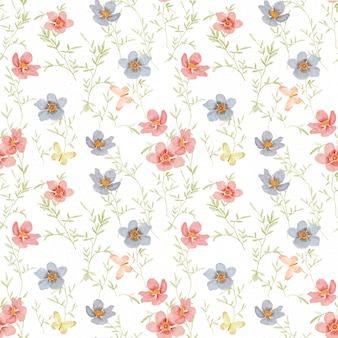 Seamless pattern with watercolor flower blossom and green leaves on white background