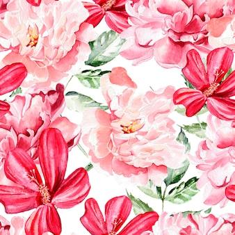 Бесшовный фон с акварельными цветами. пионы. иллюстрация