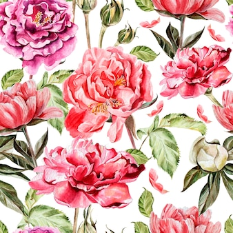 水彩花とのシームレスなパターン。牡丹。図