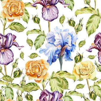 水彩花とのシームレスなパターン。ローズとアイリス。手で書いた。