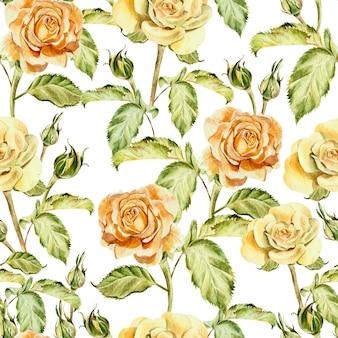 水彩花とのシームレスなパターン。ローズ。手で書いた。