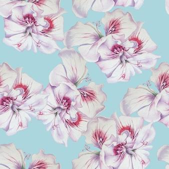 水彩花とのシームレスなパターン