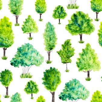 水彩の緑の木々と草のシームレスパターン。自然の背景
