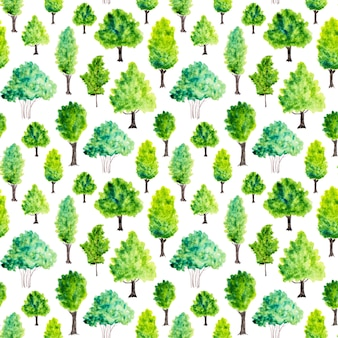 Seamless pattern with watercolor green trees. nature background
