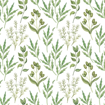 Seamless pattern with watercolor greenery leaves