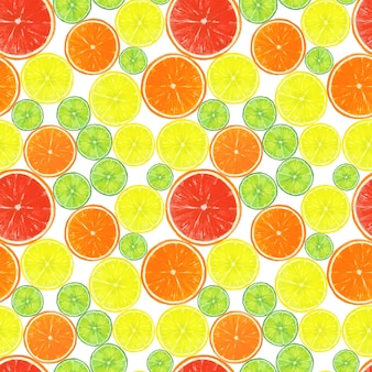 Seamless pattern with watercolor hand drawn citrus fruits slices on white surface