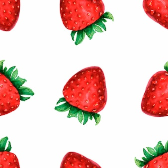 Seamless pattern with watercolor hand drawn cute strawberries on white background