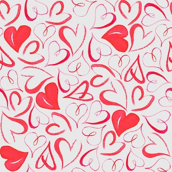 Бесшовный фон с акварелью рисованной сердца на светло-серой поверхности