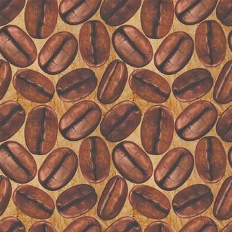 古い紙の表面に水彩の手描きのコーヒー豆とのシームレスなパターン